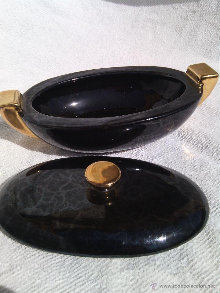 Antigüedades: SOPERA ORIENTAL INDIVIDUAL EN PORCELANA IRISADA Y DETALLES AL ORO FINO. - Foto 5 - 48871904