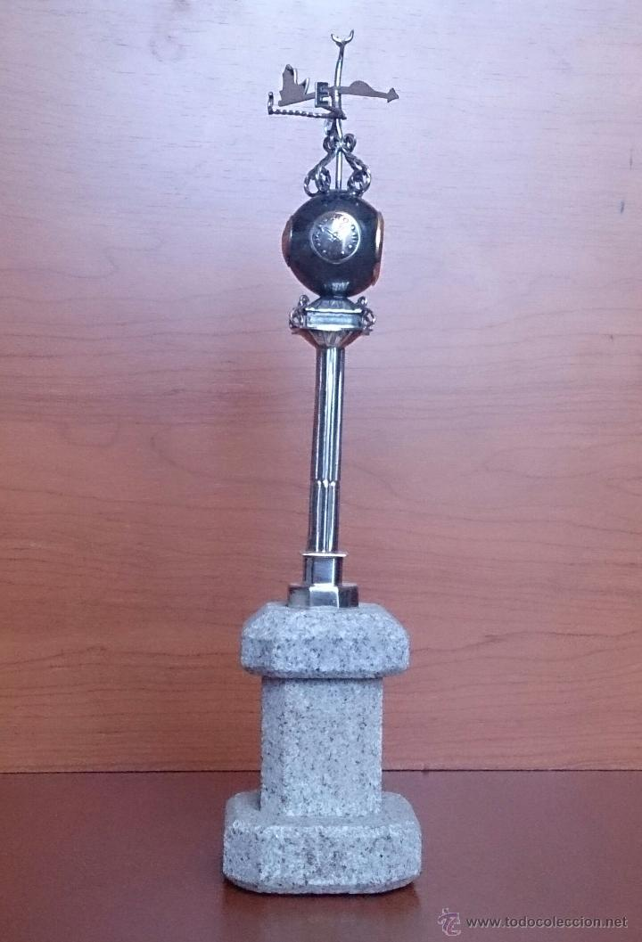 Antigüedades: Original escultura de reloj en plata de ley sobre peana de mármol , esfera de bronce y cristal . - Foto 7 - 48891065