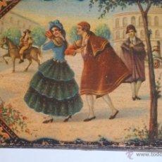 Antigüedades: CAJA COSTURERO O TOCADOR EN MADERA CON ESCENA GALANTE.Y JINETE A CABALLO. Lote 48905270