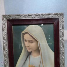 Antigüedades: ANTIGUO CUADRO DE VIRGEN MARIA O INMACULADO CORAZÓN DE MARÍA ENMARCADO EN MADERA Y CRISTAL. Lote 48908083