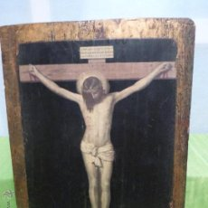 Antigüedades: ANTIGUO CUADRO SOBRE TABLA DORADA DE CRISTO EN LA CRUZ . MUY DECORATIVO. Lote 105881564