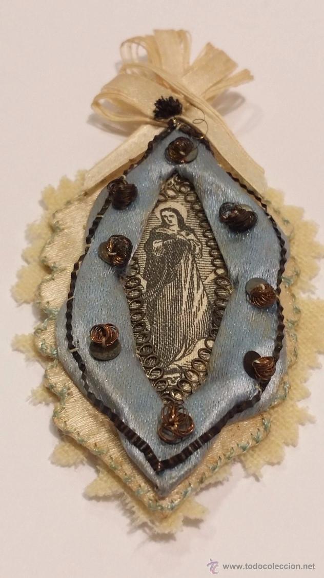 Antigüedades: ANTIGUO Y BONITO ESCAPULARIO CON IMAGEN DE SANTA BORDADO EN SEDA- PRINCIPIOS S.XX - Foto 2 - 48908852