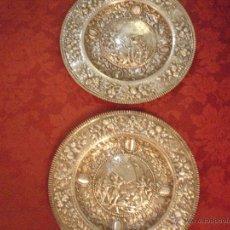 Antigüedades: PAREJA DE BANDEJAS DE PLATA. Lote 48909687