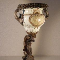 Antiquitäten - EXCEPCIONAL FLORERO EN PORCELANA Y METAL FRANCÉS SIGLO XIX - 48916582