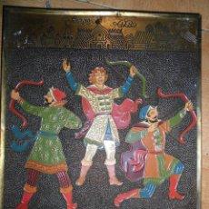 Antigüedades: PINTURA MILITAR CUADRO GUERREROS ARQUEROS MONGOLES CHINOS PINTURA EN TABLERO MADERA Y METAL. Lote 58692073