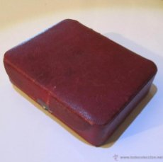 Antigüedades - Antiguo joyero forrado cuero rojo - 48936259