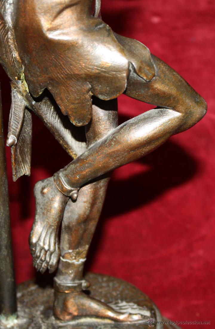 Antigüedades: PAREJA DE CANDELEROS EN CALAMINA DEL ULTIMO TERCIO DEL SIGLO XIX - Foto 8 - 48955413