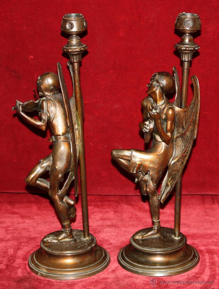 Antigüedades: PAREJA DE CANDELEROS EN CALAMINA DEL ULTIMO TERCIO DEL SIGLO XIX - Foto 14 - 48955413
