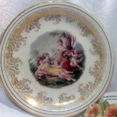 Antigüedades: SIGLO XIX-XX. SANTA CLARA, VIGO, . PRECIOSO PLATO DECORADO EN PORCELANA,.. Lote 48968535