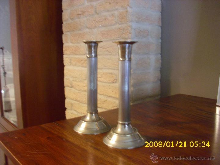 Antigüedades: ANTIGUOS CANDELABROS DE ALPACA - Foto 3 - 48976220