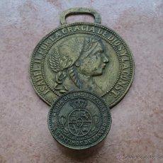 Antigüedades: ANTIGUO Y ORIGINAL COLGADOR DE BRONCE, ( MONEDA DE ISABEL II, 5 CENTIMOS , AÑO 1868 ) .. Lote 49032812