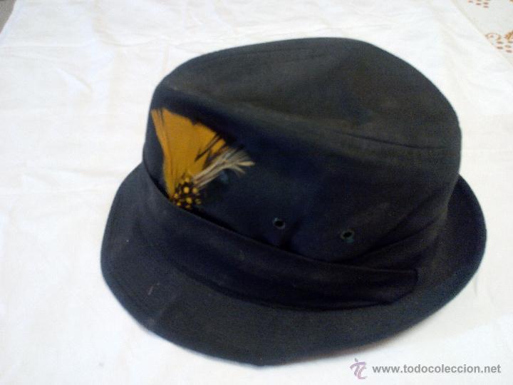 SOMBRERO DE CAZA UNITED HATTERS CAP MILLINERY W X RS INT UNION.TEJIDO Y PLUMAS (Antigüedades - Moda - Sombreros Antiguos)