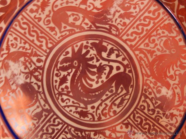 Antigüedades: Plato posiblemente de Manises. Finales del Siglo XIX, principios del XX. Reflejos metálicos - Foto 10 - 49038993