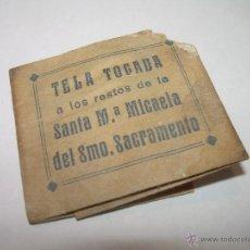 Antigüedades: ANTIGUO RELICARIO DE PAPEL....TELA TOCADA A LOS RESTOS DE STA.Mª. MICAELA DE SMO.SACRAMENTO.. Lote 49051850