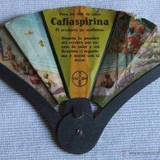 Antigüedades: ABANICO EN CARTÓN Y PAPEL CON PUBLICIDAD CAFIASPIRINA DE BAYER. . Lote 49052541
