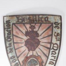 Antigüedades: ANTIGUO CRISTAL PINTADO Y ESMALTADO PARA LAMPARA. Lote 58107301
