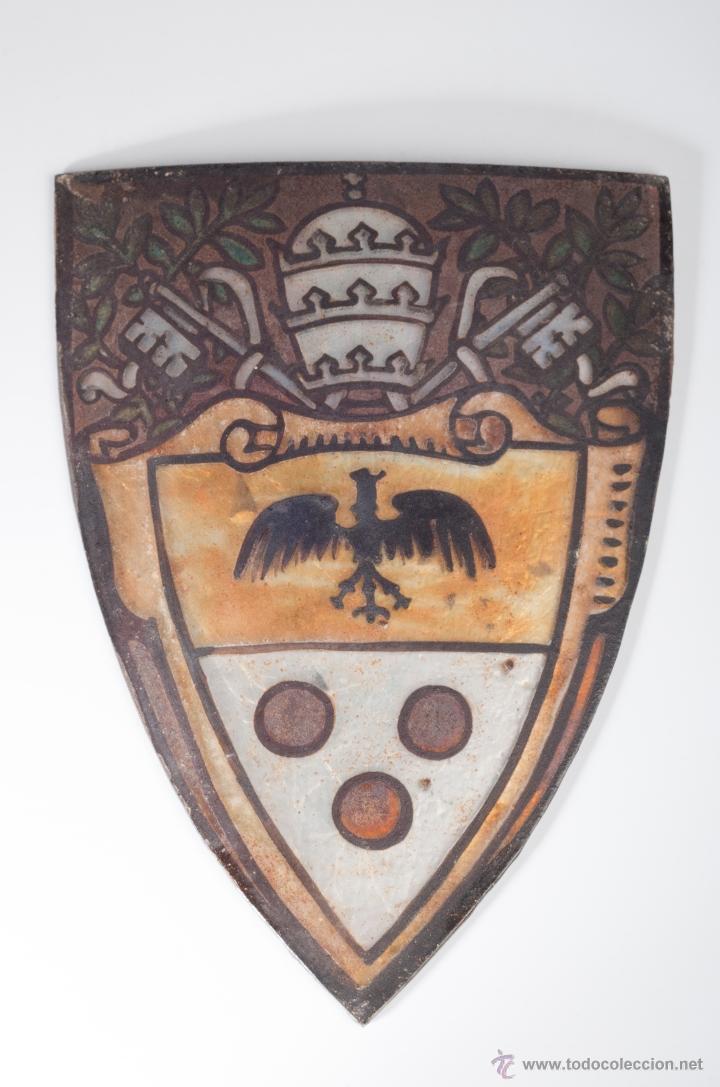 ANTIGUO CRISTAL PINTADO Y ESMALTADO PARA LAMPARA (Antigüedades - Cristal y Vidrio - Catalán)