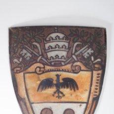 Antigüedades: ANTIGUO CRISTAL PINTADO Y ESMALTADO PARA LAMPARA. Lote 49054925