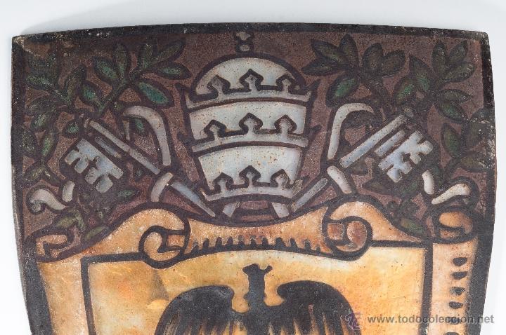 Antigüedades: ANTIGUO CRISTAL PINTADO Y ESMALTADO PARA LAMPARA - Foto 2 - 49054925