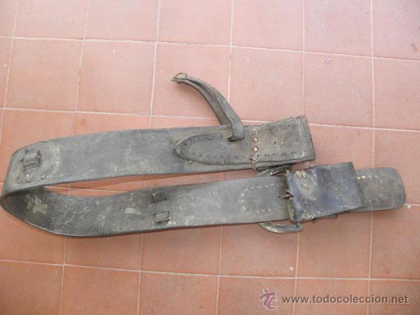 Antigüedades: ANTIGUA CINCHA, CORREAJE DE CUERO PARA CARGAR EL BURRO O CABALLO - CINTURON - Foto 2 - 49056402