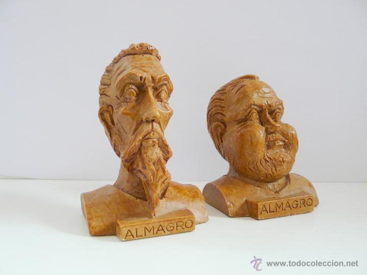 BUSTOS PEQUEÑOS DONQUIJOTE Y SANCHO PANZA - RESINA COLOR MADERA (Antigüedades - Hogar y Decoración - Figuras Antiguas)