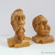 Antigüedades: BUSTOS PEQUEÑOS DONQUIJOTE Y SANCHO PANZA - RESINA COLOR MADERA. Lote 49057751