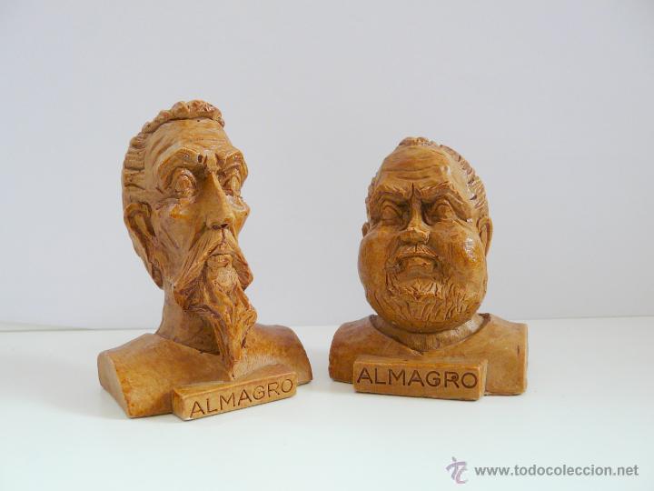 Antigüedades: BUSTOS PEQUEÑOS DONQUIJOTE Y SANCHO PANZA - RESINA COLOR MADERA - Foto 2 - 49057751