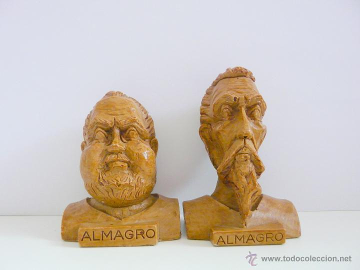 Antigüedades: BUSTOS PEQUEÑOS DONQUIJOTE Y SANCHO PANZA - RESINA COLOR MADERA - Foto 3 - 49057751