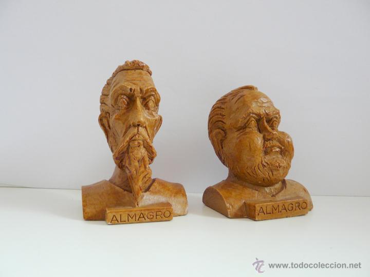 Antigüedades: BUSTOS PEQUEÑOS DONQUIJOTE Y SANCHO PANZA - RESINA COLOR MADERA - Foto 5 - 49057751