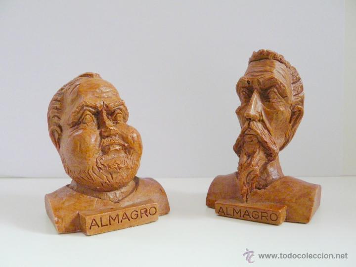 Antigüedades: BUSTOS PEQUEÑOS DONQUIJOTE Y SANCHO PANZA - RESINA COLOR MADERA - Foto 8 - 49057751