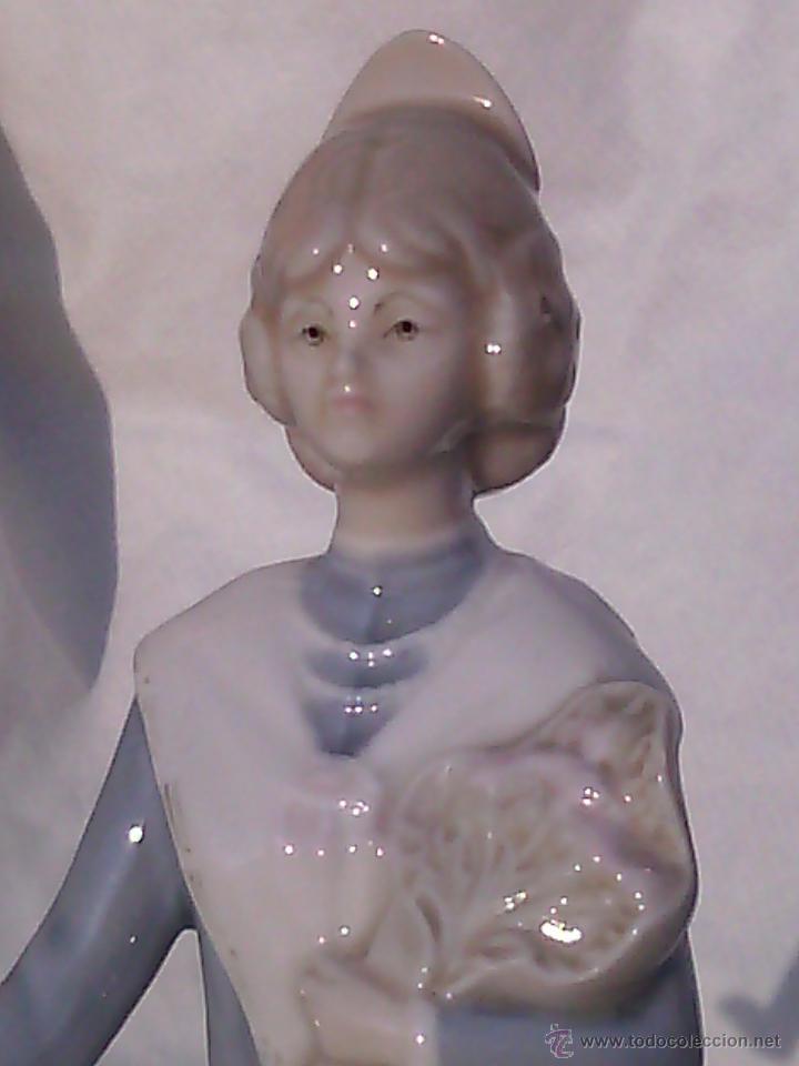 Antigüedades: FIGURA DE VALENCIANA EN PORCELANA PORCEVAL. - Foto 3 - 49062206