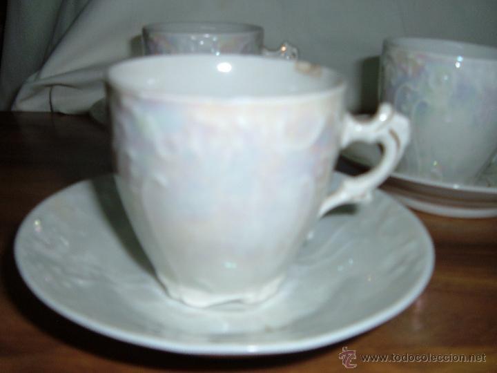 Antigüedades: 5 tazas antiguas nacaradas - Foto 2 - 49070512