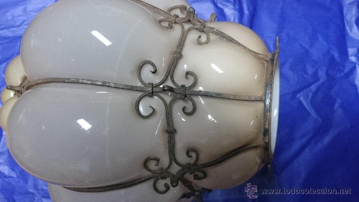 Antigüedades: ANTIGUA LAMPARA DE CRISTAL SOPLADO CON FORJA ITALIANA - Foto 4 - 49074803