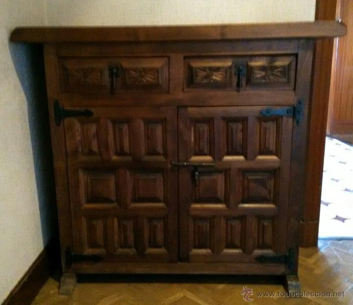 Aparador alacena de madera antiguo recogida lo comprar muebles auxiliares antiguos en - Recogida de muebles madrid ...