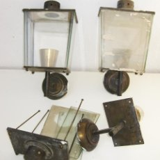Antigüedades: RARISIMAS LAMPARAS FAROLES ANTIGUAS DE EXTERIOR EN LATON TIPO ESTACION TREN . Lote 49086023