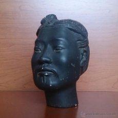 Antigüedades: CABEZA DE GUERRERO XIAN DEL EJÉRCITO DE TERRACOTA DE QIN XI HUANG EN TERRACOTA CON PATINA NEGRA .. Lote 49099035