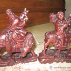 Antigüedades: PAREJA DE ANTIGUAS TALLAS ORIENTALES EN MADERA. 11 CMS. DE ALTURA.. Lote 49105625