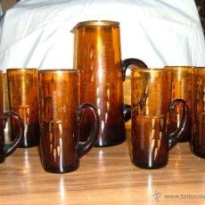 Antigüedades - Juego de jarras de cristal color ambar - 49110341