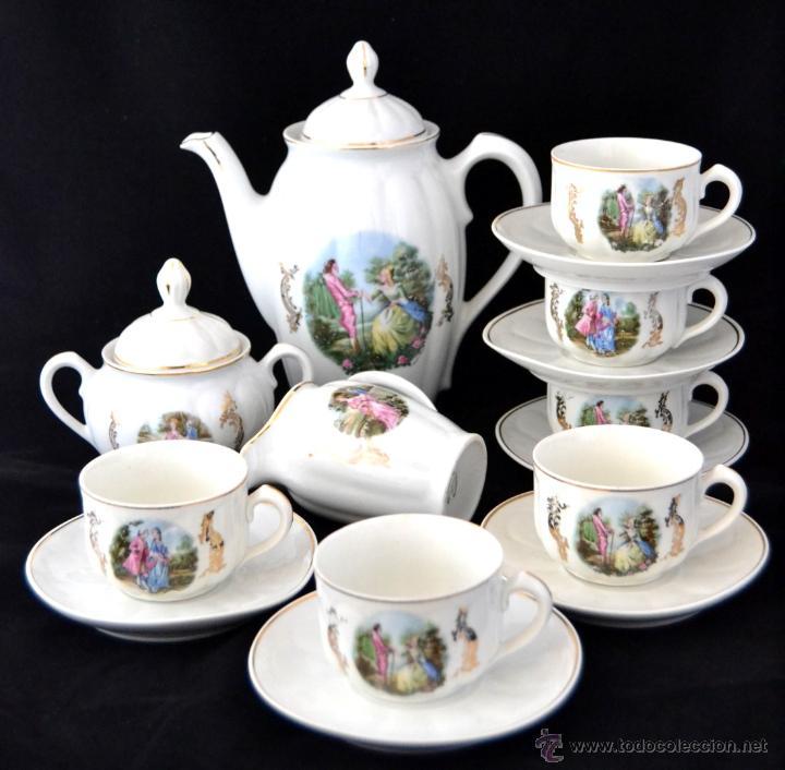 ANTIGUO JUEGO DE CAFE SANTA CLARA * ESCENA ROMANTICA * 15 PIEZAS * PORCELANA ESPAÑOLA (Antigüedades - Porcelanas y Cerámicas - Santa Clara)