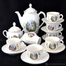 Antigüedades: ANTIGUO JUEGO DE CAFE SANTA CLARA * ESCENA ROMANTICA * 15 PIEZAS * PORCELANA ESPAÑOLA. Lote 49111322