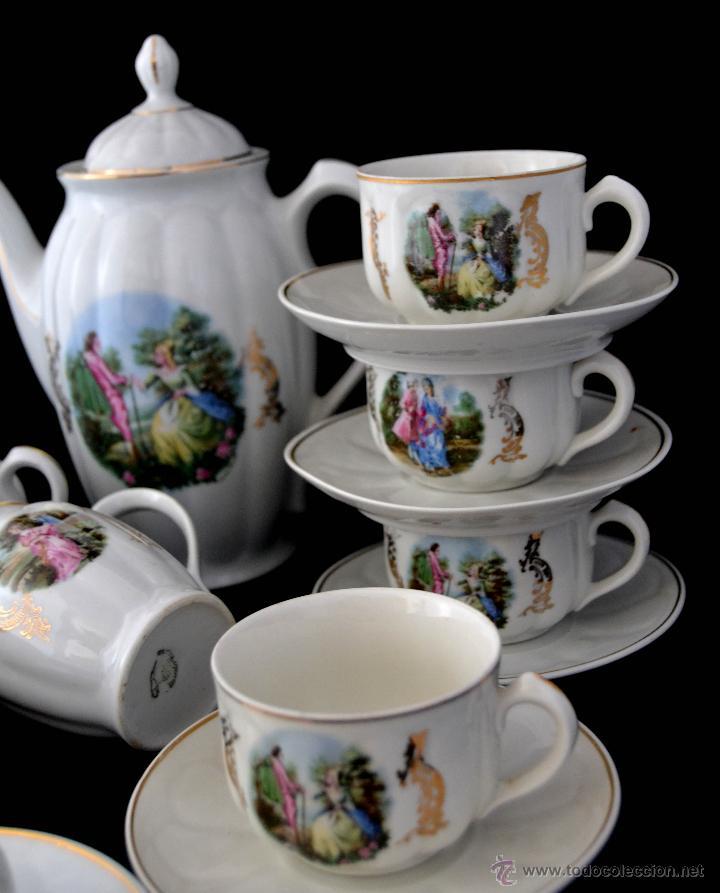 Antigüedades: ANTIGUO JUEGO DE CAFE SANTA CLARA * ESCENA ROMANTICA * 15 PIEZAS * PORCELANA ESPAÑOLA - Foto 3 - 49111322