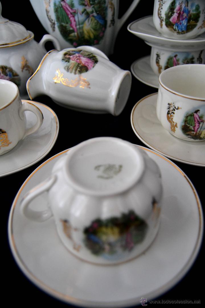 Antigüedades: ANTIGUO JUEGO DE CAFE SANTA CLARA * ESCENA ROMANTICA * 15 PIEZAS * PORCELANA ESPAÑOLA - Foto 4 - 49111322