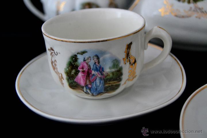 Antigüedades: ANTIGUO JUEGO DE CAFE SANTA CLARA * ESCENA ROMANTICA * 15 PIEZAS * PORCELANA ESPAÑOLA - Foto 7 - 49111322