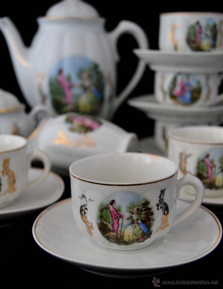 Antigüedades: ANTIGUO JUEGO DE CAFE SANTA CLARA * ESCENA ROMANTICA * 15 PIEZAS * PORCELANA ESPAÑOLA - Foto 8 - 49111322