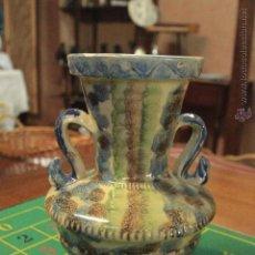 Antigüedades: ANTIGUO JARRÓN DE BARRO VIDRIADO Y DECORADO 25CM -REF3500-. Lote 49114647