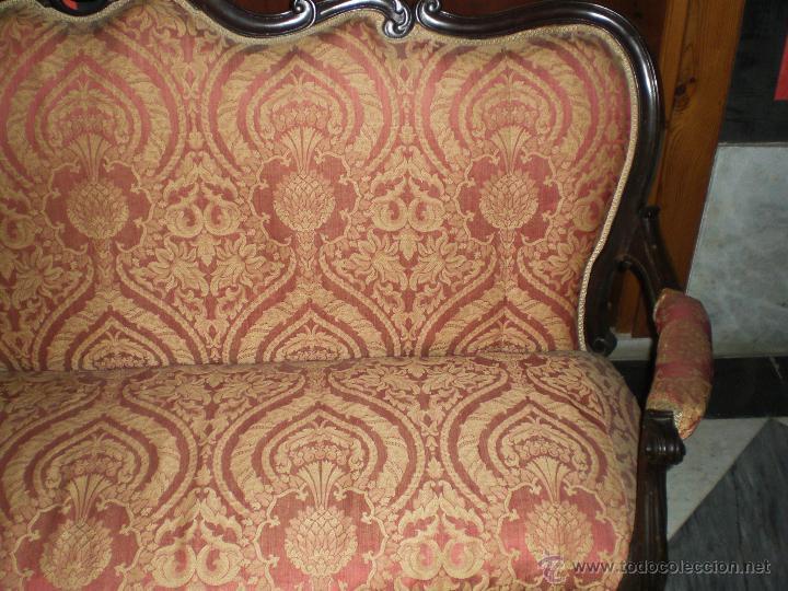 Antigüedades: Antiguo Tresillo o Sofá. Imperio - Principios del S.XIX - Caoba (tapizado original de época) - Foto 3 - 49122466
