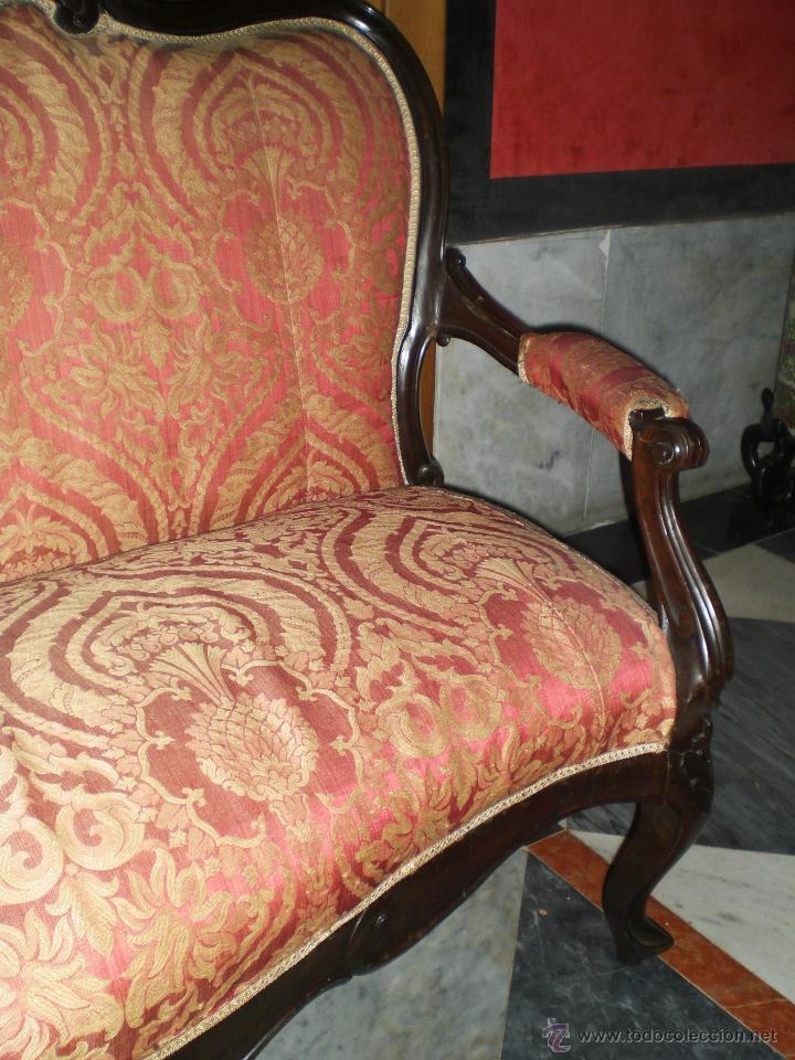 Antigüedades: Antiguo Tresillo o Sofá. Imperio - Principios del S.XIX - Caoba (tapizado original de época) - Foto 6 - 49122466