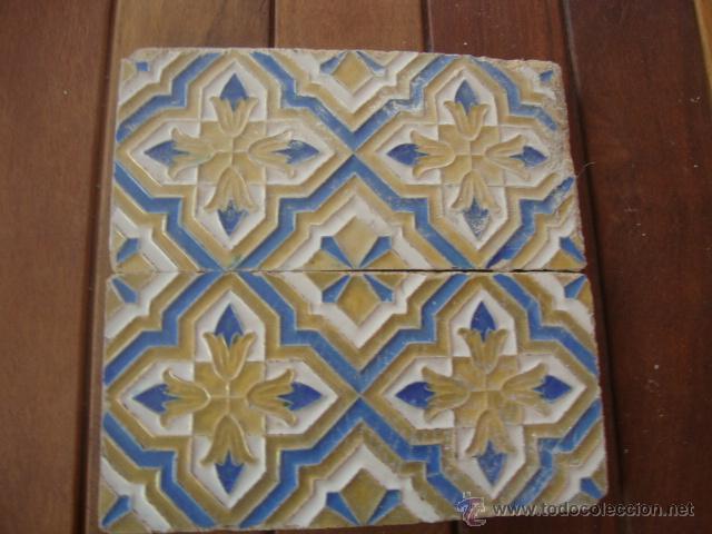 PAREJA DE AZULEJOS RAMOS REJANO SIGLO XIX (Antigüedades - Porcelanas y Cerámicas - Azulejos)