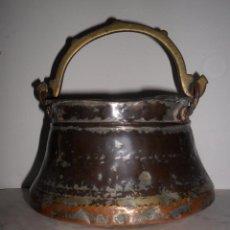 Antigüedades: CALDERO DE COBRE MUY ANTIGUO. Lote 49138394