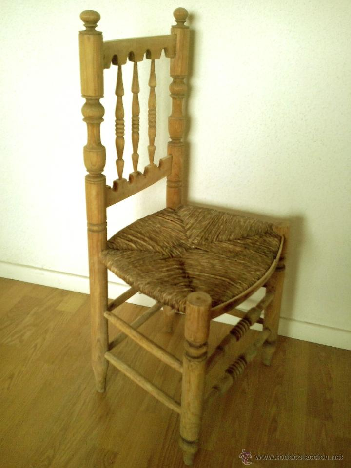 Antigua silla de enea r stica madera sin tratar comprar - Muebles madera natural sin tratar ...